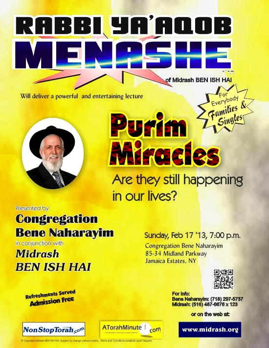 Purim Miracles by Rabbi Ya'aqob Menashe
